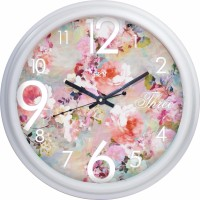 The Fat Cat Analog Wall Clock(Pearl White, With Glass)