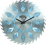 Home Analog Wall Clock (Blue & Shiny Sil...