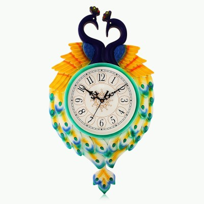 Fieesta Dollar785 Turquoise Peacock Design Analog Wall Clock