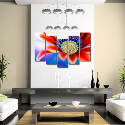 999 Store Multiple Frames Printed Red Flower like Modern Wall Art Painting - 5 Frames (148 X 76 Cms)
