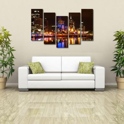 999 Store Multiple Frames Printed Mumbai City like Modern Wall Art Painting - 5 Frames (148 X 76 Cms)