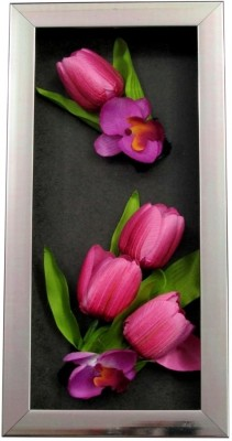 Fourwalls Artificial Tulip and Orchid Wall Hanging Frame (Large) - 2(20 cm X cm 40, Multicolor)