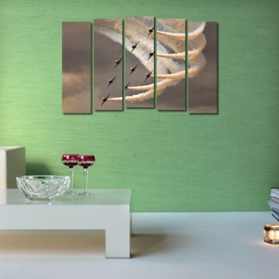 999 Store Multiple Frames Printed Flying Fighter Planes like Modern Wall Art Painting - 5 Frames (148 X 76 Cms)