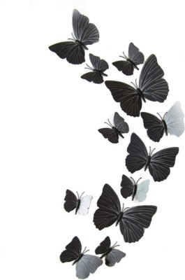 KARP 12 Pcs 3D Butterfly Removable Magnetic Wall Sticker-Black