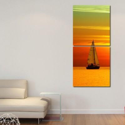 999 Store Multiple Frames Printed Boat in River Wall Art Painting -2 Frames (76x25 cm)