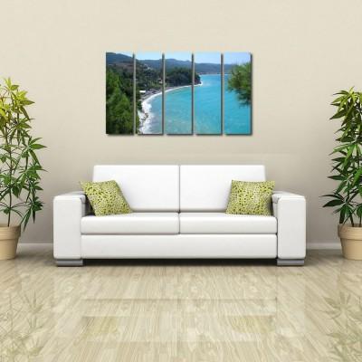 999 Store Multiple Frames Printed Sea Shore like Modern Wall Art Painting - 5 Frames (148 X 76 Cms)