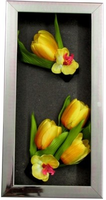 Fourwalls Artificial Tulip and Orchid Wall Hanging Frame (Large) - 4(20 cm X cm 40, Yellow, White)