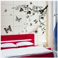 Oren Empower Black flower with flying butterfly decorative large wall sticker(115 cm X cm 110, Black)