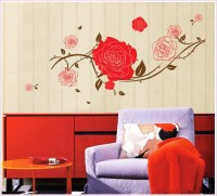 Oren Empower Stylish flower large wall stickers(78 cm X cm 130, Red, Brown)