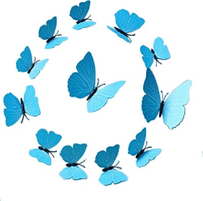 KARP Removable 12 Pcs Magnet Art Design Decorative 3D Butterfly Wall Sticker/Decal For Home Decor -Plain Blue