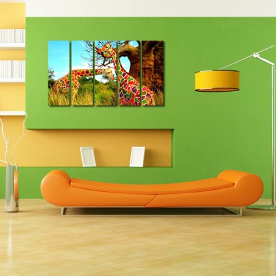 999 Store Multiple Frames Printed Colourful Girafee like Modern Wall Art Painting - 5 Frames (148 X 76 Cms)