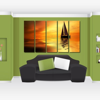 999 Store Multiple Frames Printed Ship in the sea like Modern Wall Art Painting - 5 Frames (148 X 76 Cms)