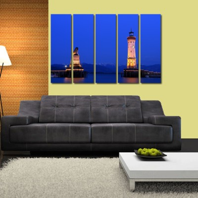 999 Store Multiple Frames Printed Clock Tower like Modern Wall Art Painting - 5 Frames (148 X 76 Cms)