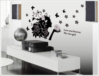 Oren Empower Cute lady with attractive black flowers expressing love large wall art sticker