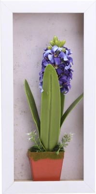 Fourwalls Artificial Stalk Flower Wall Hanging Frame - 4(20 cm X cm 40, Green, White)