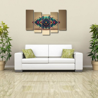 999 Store Multiple Frames Printed Triangles like Modern Wall Art Painting - 5 Frames (148 X 76 Cms)
