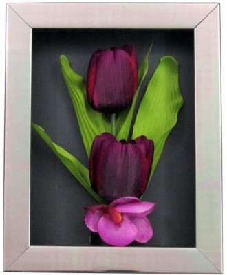 Fourwalls Artificial Tulip and Orchid Wall Hanging Frame (Small) - 4(20 cm X cm 25, Pink, Green, White)