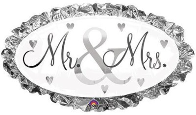 Anagram Mr. and Mrs. Oval Shaped 31 Silver and White Mylar Balloon(Multicolor)