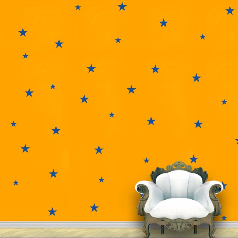 WallDesign Stars Wall Pattern Blue Royal Stickers Set of 118(7.5 cm X cm 7.5, Blue)