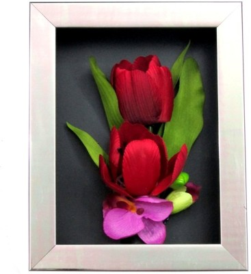 Fourwalls Artificial Tulip and Orchid Wall Hanging Frame (Small) - 3(20 cm X cm 25, Multicolor)