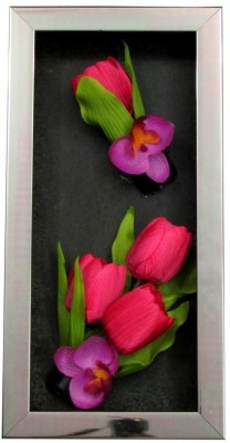 Fourwalls Artificial Tulip and Orchid Wall Hanging Frame (Large) - 3(20 cm X cm 40, Multicolor)