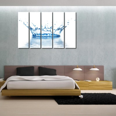 999 Store Multiple Frames Printed Water like Modern Wall Art Painting - 5 Frames (148 X 76 Cms)