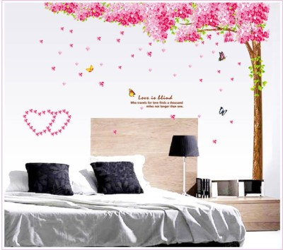 Oren Empower 2pc/set (Double Sheet) Extra Large Hot sale removable vinyl - Cherry Blossom wall sticker(220 cm X cm 250, Pink)