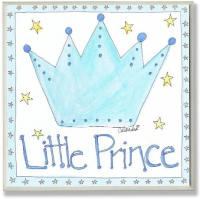 The Kids Room by Stupell Stupell Little Prince with Blue Crown Square Wall Plaque