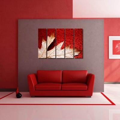 999 Store Multiple Frames Printed Flower Leaves like Modern Wall Art Painting - 5 Frames (148 X 76 Cms)