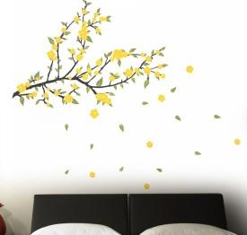 Happy walls Pleasant Yellow Flower On Tree Branch(55 cm X cm 130, Multicolour)