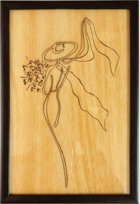 Bion Creations Wooden Carved Painting Flower & Scaf