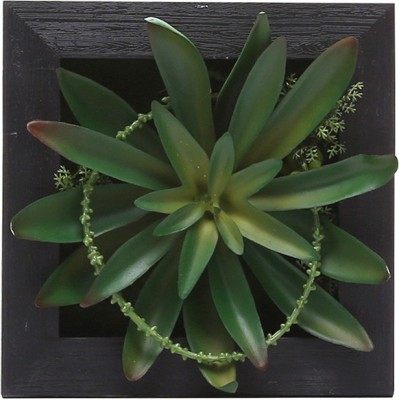 Fourwalls Artificial Succulent Wall Hanging Garden - 1(15 cm X cm 15, Black, Green)