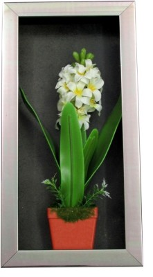 Fourwalls Artificial Stalk Flower Wall Hanging Frame - 2(20 cm X cm 40, Green, White)