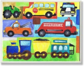 The Kids Room by Stupell Transportation Collage Oversized Rectangle Wall Plaque(Multicolour)