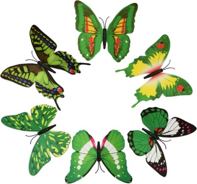 KARP 6 Pcs Removable Magnet Wall 3D Butterfly Sticker-Green