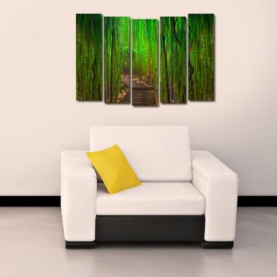 999 Store Multiple Frames Printed Jute Plants like Modern Wall Art Painting - 5 Frames (148 X 76 Cms)
