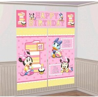 Amscan Disney Baby Minnie Mouse 1st Birthday Scene Setters Wall Decorating Kit(Pink)