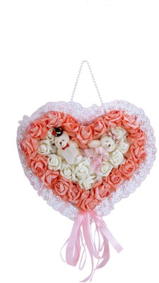 Sunrise Artificial Succulent Wall Hanging Heart Bouquet(17.7 inch X inch 13.78, Multicolor)