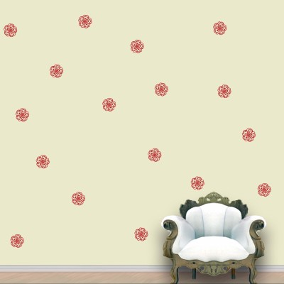 WallDesign Flower Swirl Wall Pattern Red Blood Stickers Set of 60
