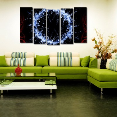 999 Store Multiple Frames Printed Water Drops like Modern Wall Art Painting - 5 Frames (148 X 76 Cms)