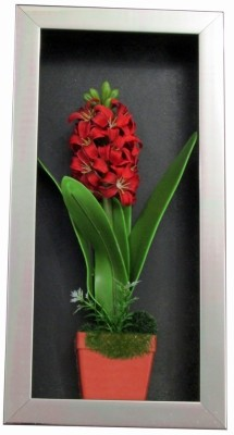 Fourwalls Artificial Stalk Flower Wall Hanging Frame - 3(20 cm X cm 40, Red, White, Green)