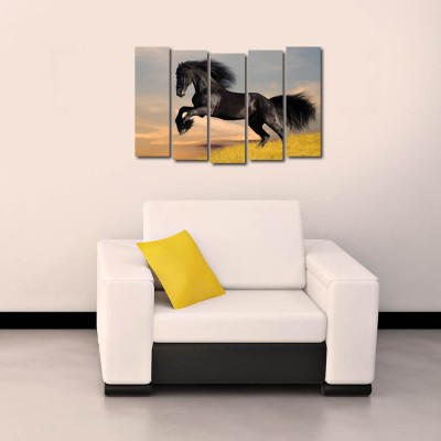 999 Store Multiple Frames Printed Black Horse like Modern Wall Art Painting - 5 Frames (148 X 76 Cms)