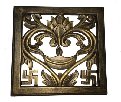 Craft Art India Brown Handmade Wooden Swastik / Diya Wall Hanging / Mounting Handicraft Scenery