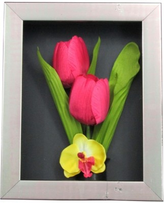 Fourwalls Artificial Tulip and Orchid Wall Hanging Frame (Small) - 2(20 cm X cm 25, Pink, White, Green)
