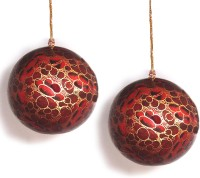 RiA Hanging Ball from Kashmir(9 cm X cm 9, Maroon with golden border)