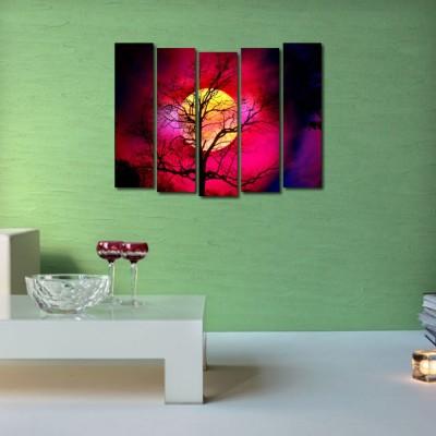 999 Store Multiple Frames Printed Tree like Modern Wall Art Painting - 5 Frames (148 X 76 Cms)