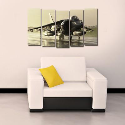 999 Store Multiple Frames Printed Flying Fighter Plane like Modern Wall Art Painting - 5 Frames (148 X 76 Cms)