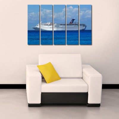 999 Store Multiple Frames Printed Cruise Ship like Modern Wall Art Painting - 5 Frames (148 X 76 Cms)