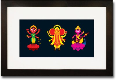 Mad(e) in India Ganesh, Laxmi and Saraswati Frame(6.75 inch X inch 10.75, Multicolor)
