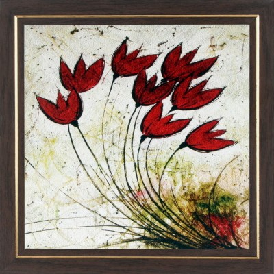WENS Red Flowers In Air Wall Art